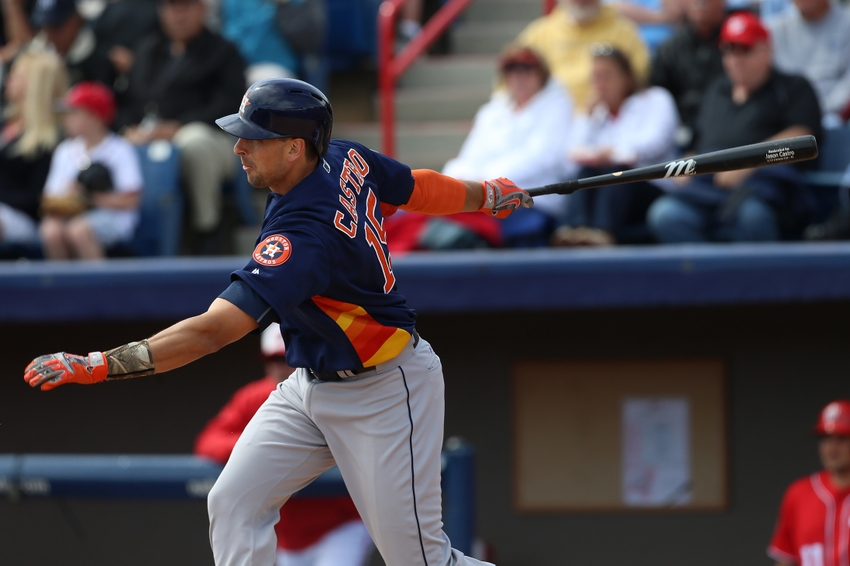 Mar 21, 2016; Melbourne, FL, USA; Houston Astros catcher Jason Castro (15) flies out in the sixth inning against the Washington Nationals at Space Coast ...
